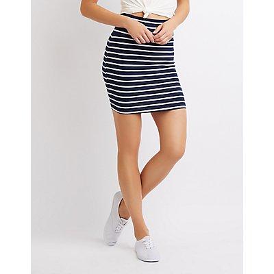 Striped Mini Bodycon Skirt