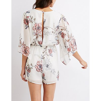 Floral Surplice Open-Back Romper