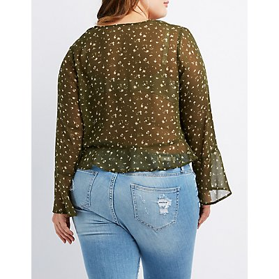 Plus Size Floral Bell Sleeve Crop Top