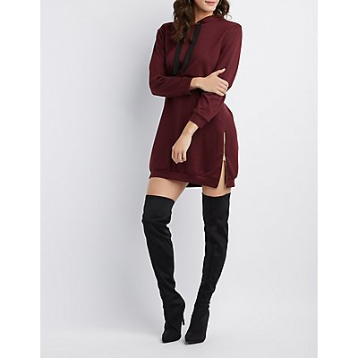 Hooded Zip-Detail Sweatshirt Dress