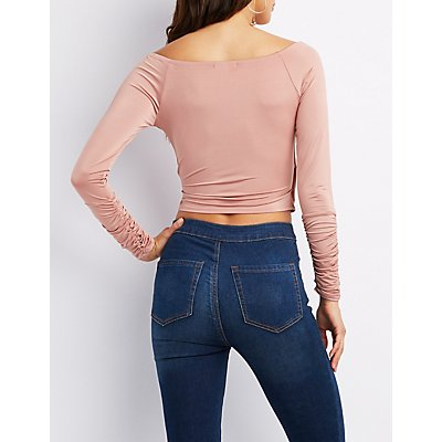 Ruched Wrap Front Crop Top