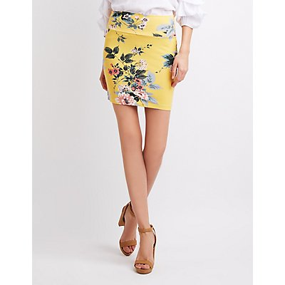 Floral Mini Bodycon Skirt