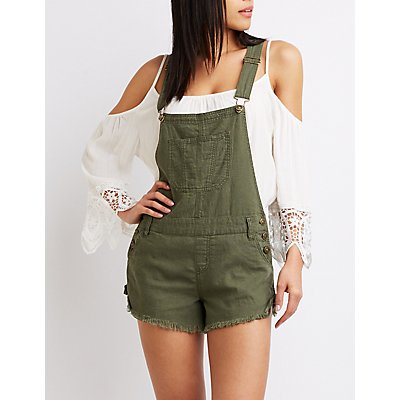 Frayed Hem Denim Shortalls