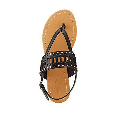 Studded Braided T-Strap Sandals