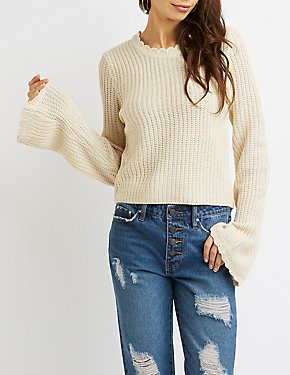 Scallop-Trim Crew Neck Pullover Sweater