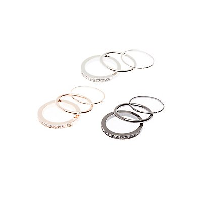 Embellished Stacking Rings - 9 Pack