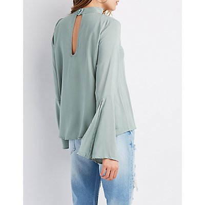 Mock Neck V-Neck Bell Sleeve Top