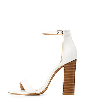 Faux Leather Ankle Strap Block Sandals