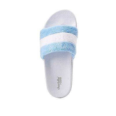 Striped Band Slide Sandals