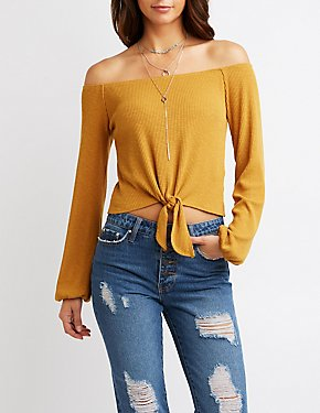 Off-The-Shoulder Tie-Front Cropped Top