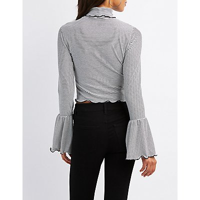 Turtle Neck Lettuce-Trim Cropped Top