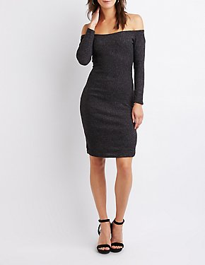 Off-The-Shoulder Bodycon Sweater Dress