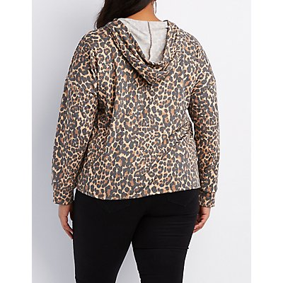 Plus Size Leopard Cuff-Off Cropped Hoodie