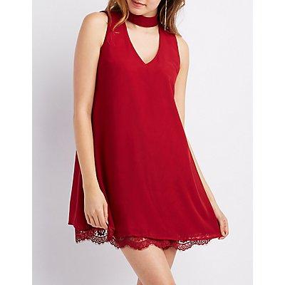 Mock Neck Lace-Trim Hem Shift Dress