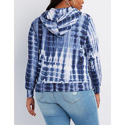 Plus Size Tie Dye Pullover Hoodie
