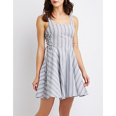 Striped Lace-Up Skater Dress