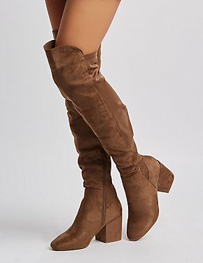Faux Suede Over-The-Knee Block Heel Boots