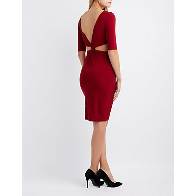 Twisted-Back Bodycon Dress