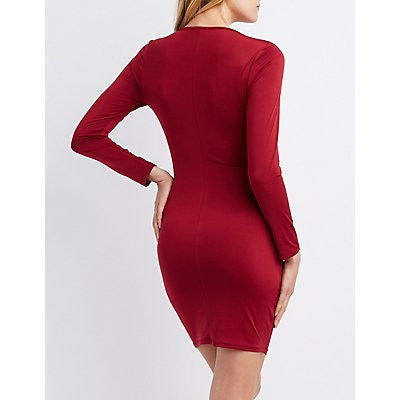 Surplice Ruched Bodycon Dress