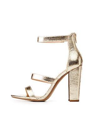 Metallic Ankle Strap Sandals