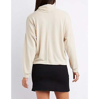 Cowl Neck Drawstring Pullover Sweater