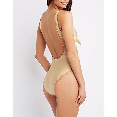 Tie-Front Scoop-Back One-Piece Swimsuit
