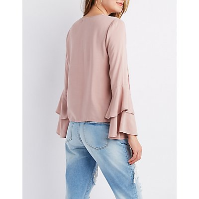 Caged Layered Bell Sleeve Top