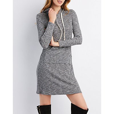 Hacci Knit Hooded Sweater Dress