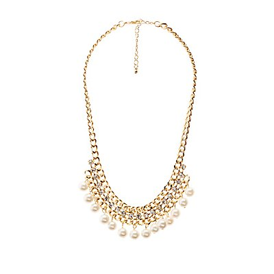 Faux Pearl & Crystal Bib Necklace