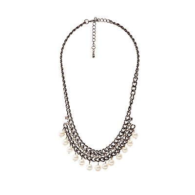 Faux Pearl & Crystal Bib Necklace