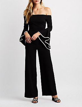 Off-The-Shoulder Bell Sleeves Jumpsuit