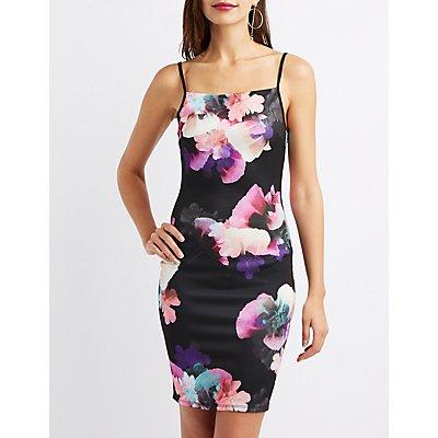 Floral Bib Bodycon Dress