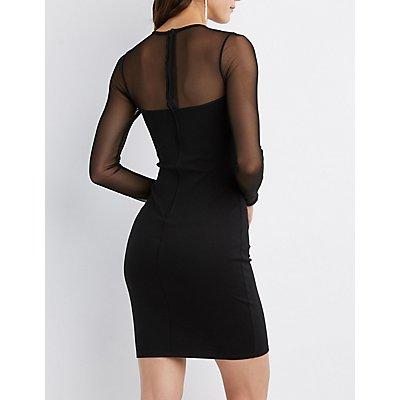 Mesh-Trim Bodycon Dress