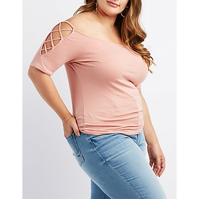 Plus Size Caged Sleeve T-Shirt
