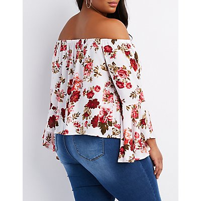 Plus Size Floral Off-The-Shoulder Bell Sleeve Top