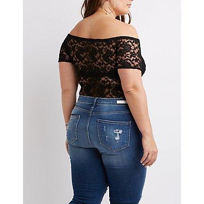 Plus Size Floral Lace Bodysuit