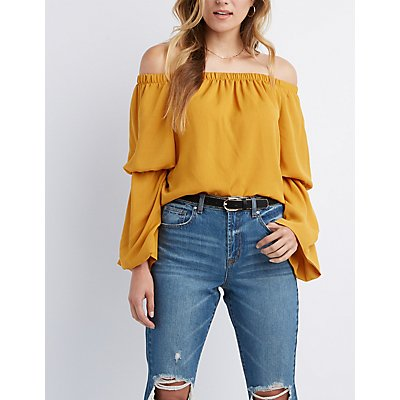 Bell Sleeve Off-The-Shoulder Top