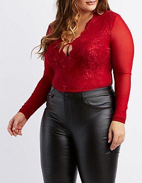 Plus Size Mesh & Lace Bodysuit