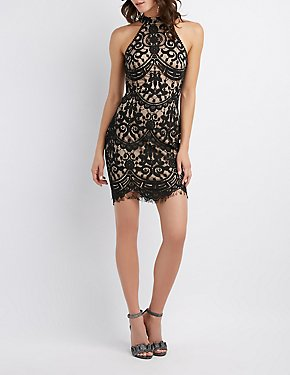 Mock Neck Lattice-Back Bodycon Dress