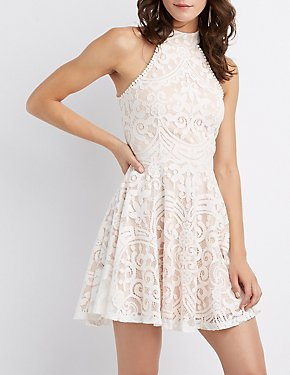 Mock Neck Lattice-Back Skater Dress
