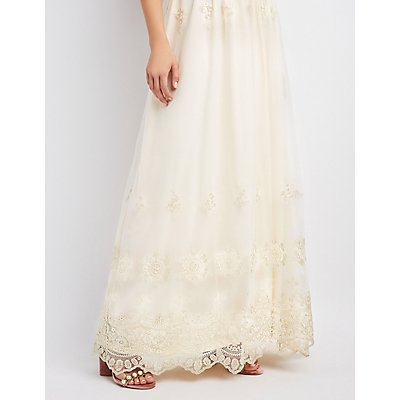 Floral Embroidered Bib Neck Maxi Dress