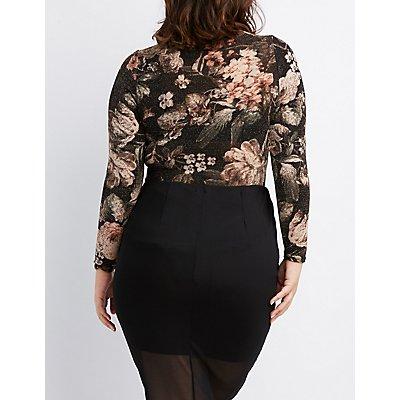 Plus Size Floral Lattice-Front Bodysuit