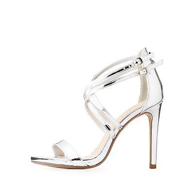 Metallic Dual Strap Sandals