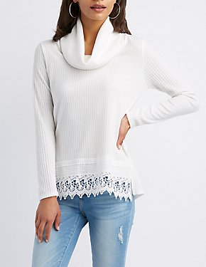 Crochet-Trim Cowl Neck Tunic Top