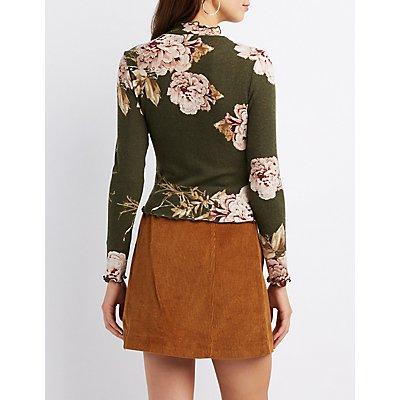 Floral Lettuce-Trim Crop Top