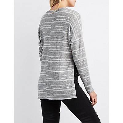Striped Tie-Front High-Low Tunic Top