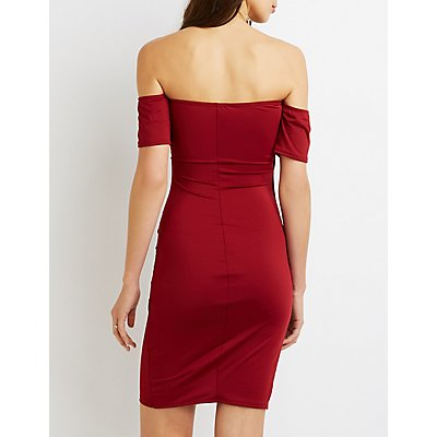 Ruched Off-The-Shoulder Bodycon Dress