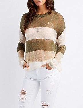 Striped Crew Neck Pullover Sweater