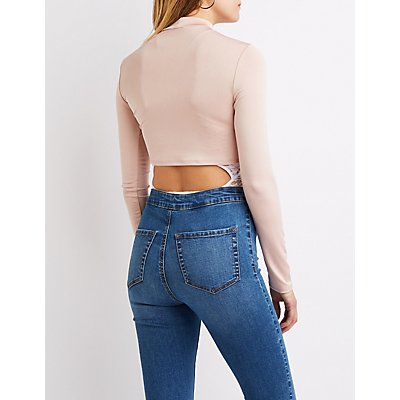 Mock Neck Front-Tie Crop Top