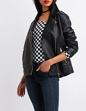 Boyfriend Faux Leather Moto Jacket